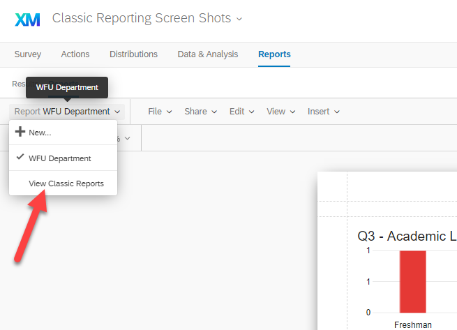 View Classic Report from the Advanced Reporting Menu