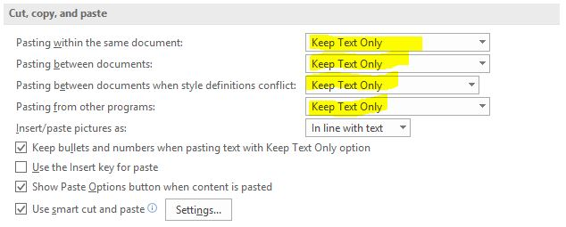 A screenshot of Microsoft Word Advanced options menu to remove the formatting of inserted text.