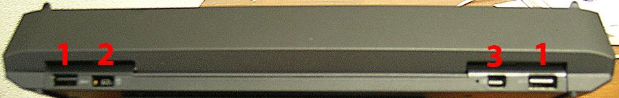 Enhanced Dock Rear View 1. USB3 Ports  2. Power Port  3. MiniDP Port