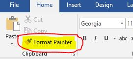 Screen capture of the format painter bar on the home menu of Microsoft Word