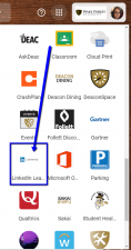 Google App Launcher with arrow pointing at LinkedIn Learning icon