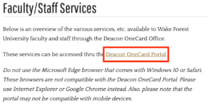 Photo of Deacon OneCard website with link to portal