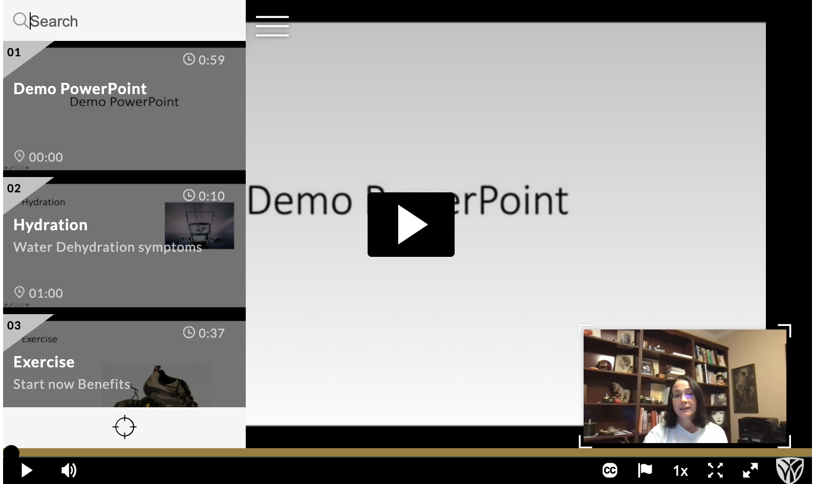 Screenshot of a Kaltura Capture video showing PowerPoint slide navigation on left