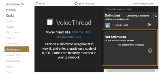 Screenshot of Not Submitted  in VoiceThread