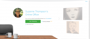 Screenshot of Suzanne Thompson's WebEx Personal Room Lobby
