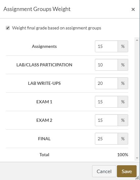 Canvas assignment grade weights