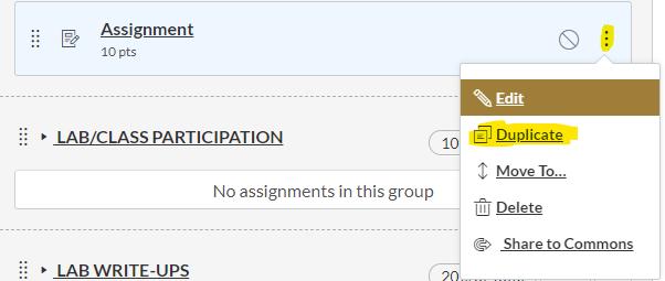 assignment duplicate button