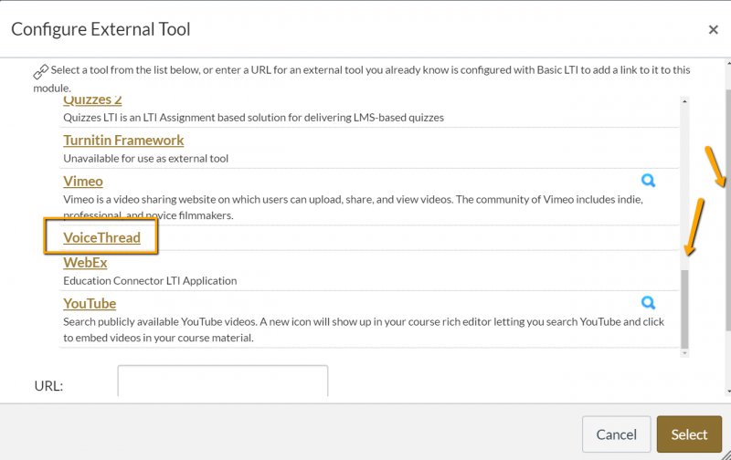 Canvas interface showing 2 scrollbars in the Configure External Tool pop up window