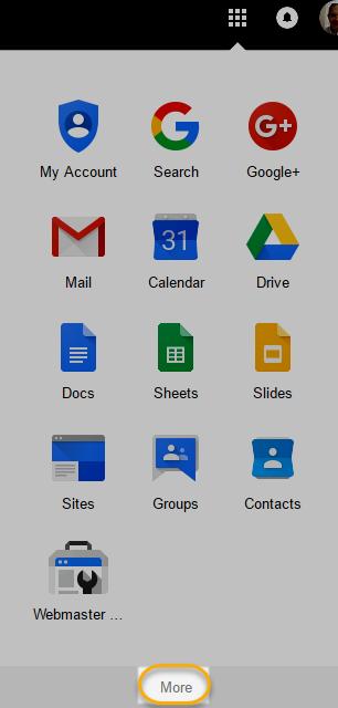 Google App Launcher > More link