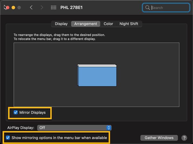 screen capture of the Mac's Display Arrangement properties