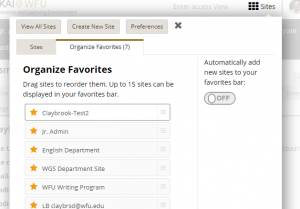 showing the Organize Favorites tab