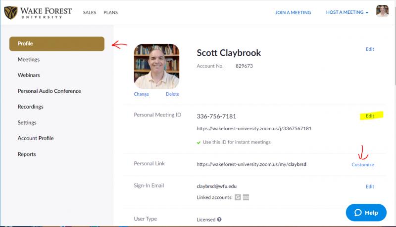 screen cap of Zoom's Profile settings