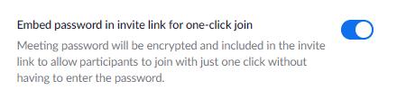 Zoom embed password in URL option